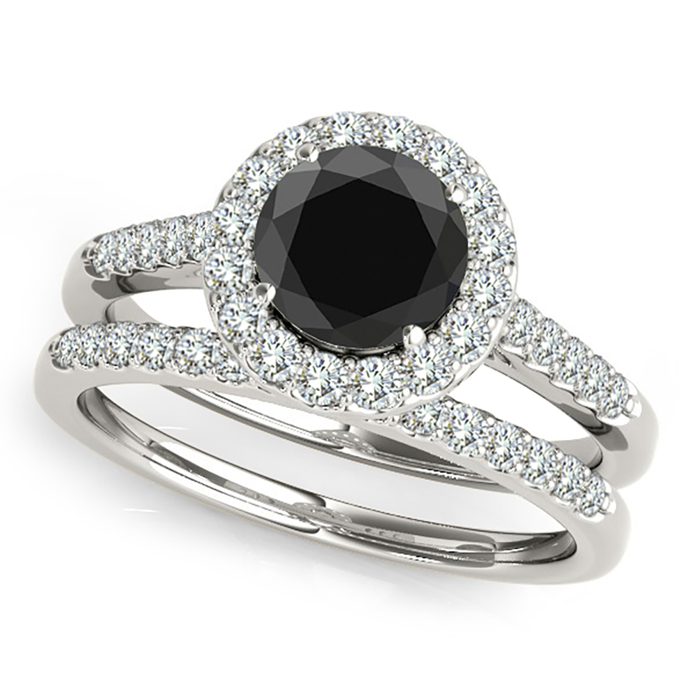 2 Carat Black Diamond Beautiful halo Engagement Promise Ring 14K White Gold