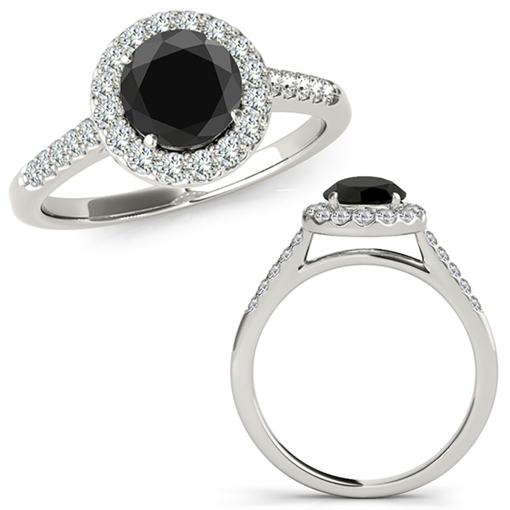 2 50 Carat Black Diamond Beautiful halo Engagement Promise Ring 14K White Gol