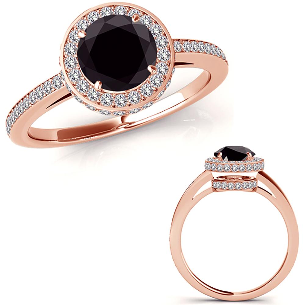 1 Carat Black Diamond Beautiful Halo Half Eternity Promise Ring 14K Rose Gold