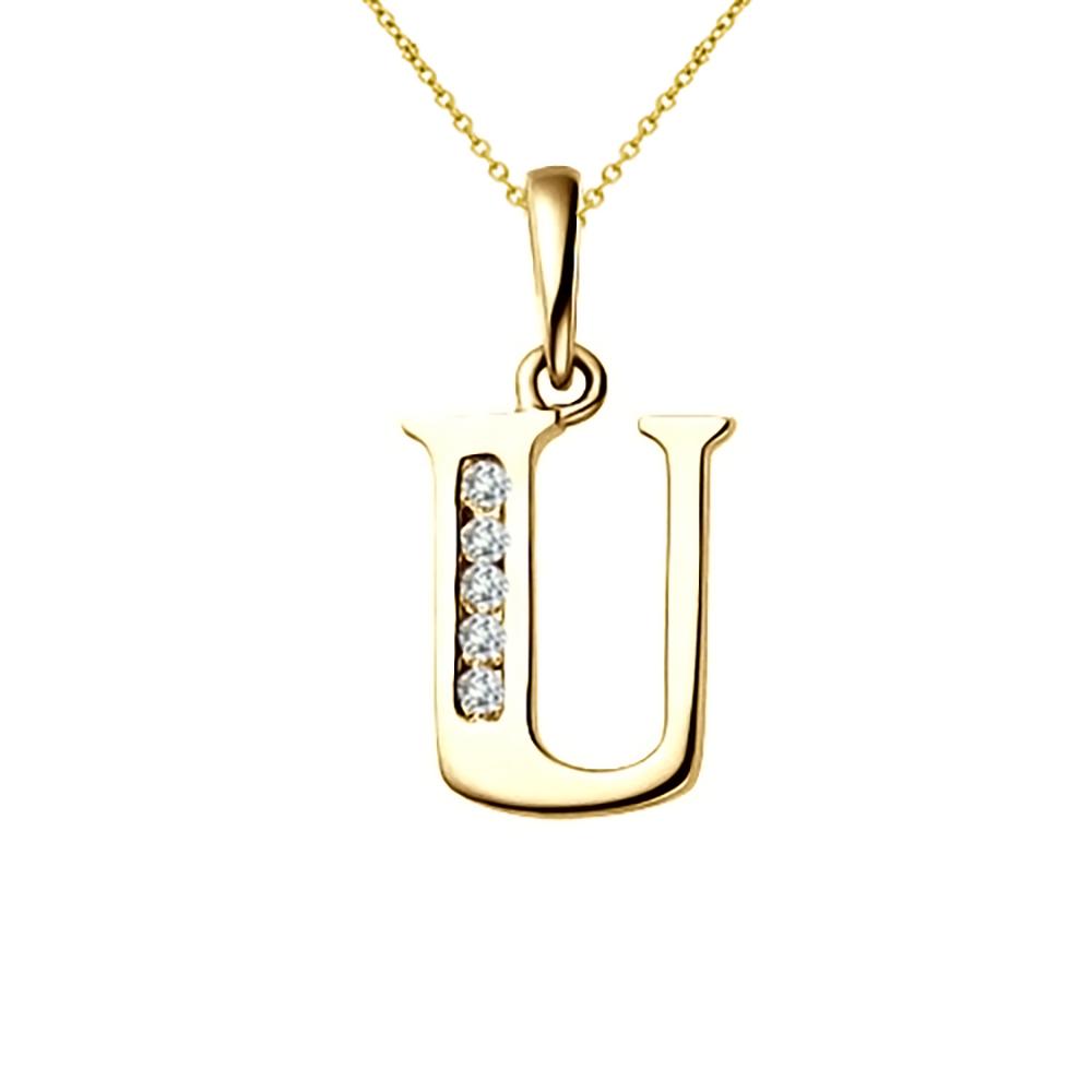 Diamond Alphabet Pendant U in Sterling Silver with Diamond